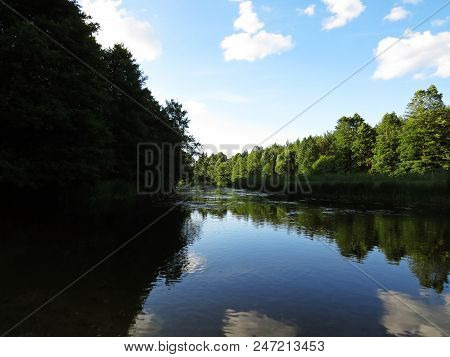 Cloudy Sky And Trees Forrest Reflection At A Water Surface