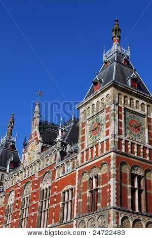 Holland, Amsterdam, View Of The Central Railway Station Facade