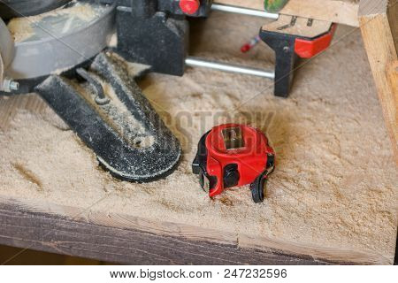 The end electric saw. Saw for sawing wood. Joiner's tools. The joiner. poster