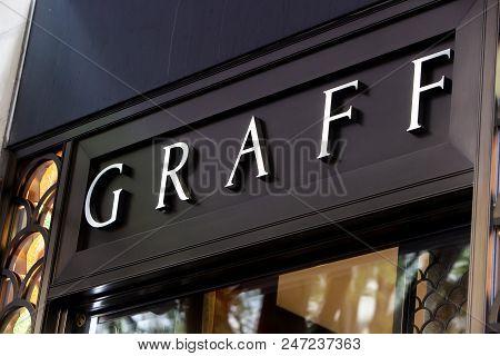Zurich, Switzerland - May 19, 2018: Detail Of Graff Diamonds Store In Zurich, Switzerland. It Is A B