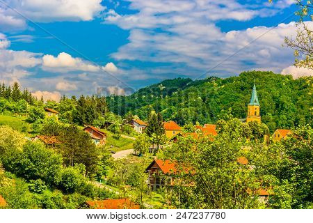 Aerial View At Picturesque Village In Northern Croatia, Desinic Croatia.