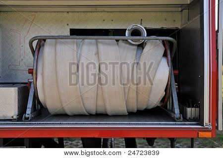 Fire Hose In A German Fire Truck