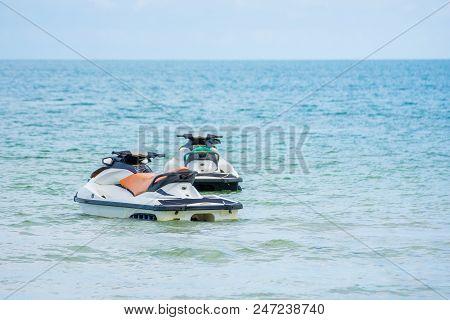Jetski And Saiboat  On The Sea Water Summer Season