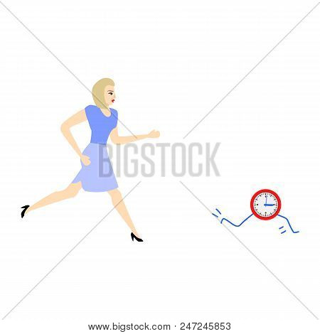 Businesswoman And Time Management, Deadline Concept. Female Character Manager Office Worker In Hurry