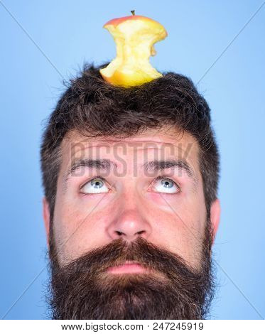 Man Handsome Hipster Long Beard Almost Eaten Apple Stump On Head As Target. Live Target Concept. Wei