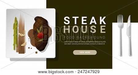Grilled Beef, Strip Loin Steak And Spices Served On Plate, Food Background , Vector , Illustration