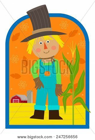 Cute Cartoon Scarecrow Standing In A Field With A Barn In The Background. Eps10