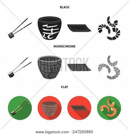 Sticks, Shrimp, Substrate, Bowl.sushi Set Collection Icons In Black, Flat, Monochrome Style Vector S