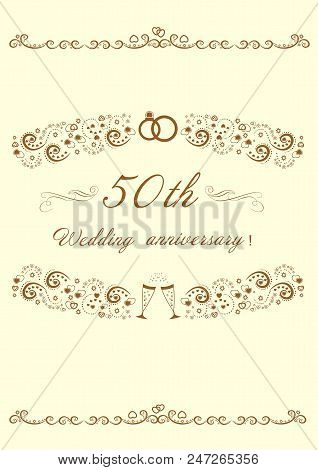 50th Wedding Anniversary.invitation Anniversary Card.beautiful Editable Vector Illustration  Eps 8 G