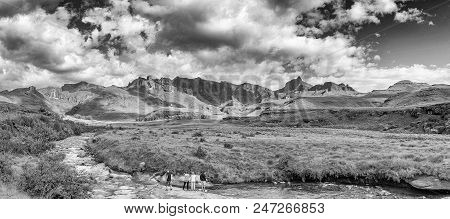 Garden Castle, South Africa - March 25, 2018: Garden Castle In The Drakensberg. Hermits Wood Camp Si