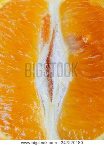 Macro Image Of Ripe Orange. Orange Background