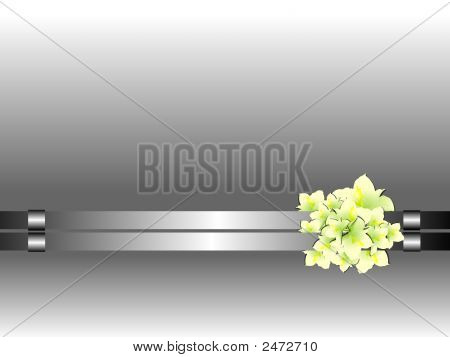 Flowers On Abstract Metal Background