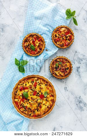 Savory Quiche With Chicken, Green Onion And Sweet Pepper On White Concrete Background. View From The