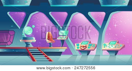 Vector Cartoon Interior Of Spaceship, Cockpit With Control Panels And Handwheel. Compartment For Cre