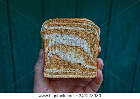 Piece Of Square Bread In Hand On A Green Background