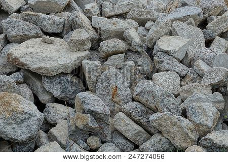 Gray Stone Texture Of Dirty Cobblestones In A Heap