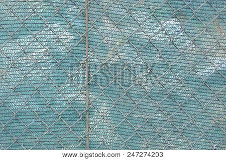 Texture Of Old Metal Mesh And Blue Matter
