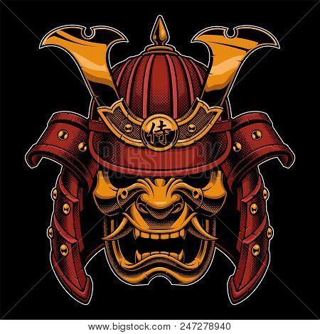 Samurai Warrior Mask. Traditional Armor Of Japanese Warrior. Vector Illustration, Shirt Graphic. All
