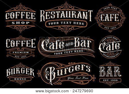 Set Of Vintage Lettering Illustration For The Catering. Vector Design For The Restaurants, Cafe, Bar