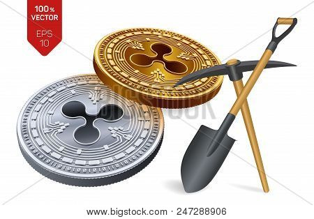 Ripple Mining Concept. 3d Isometric Physical Bit Coin With Pickaxe And Shovel. Digital Currency. Cry