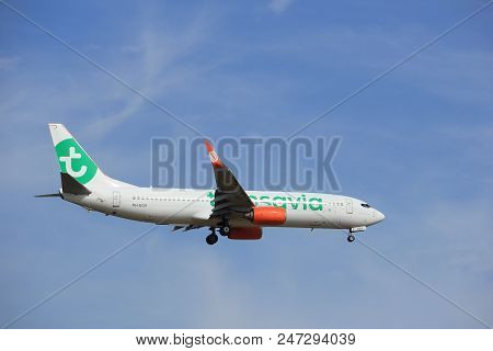 Amsterdam, The Netherlands - July 21st 2016: Ph-ggx  Transavia Boeing 737,  Approaching Polderbaan R