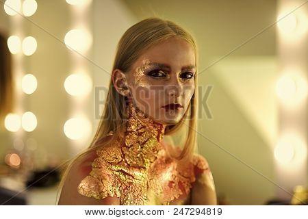 Beauty Fashion Model Girl. Fashion Look. Fashion Woman With Art Make Up, Creative Bodyart. Beauty, F