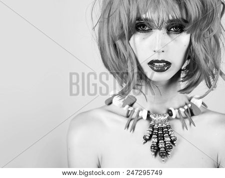 Beauty Fashion Model Girl. Fashion Look. Hairdresser Salon And Barbershop. Girl With Bright Artifici