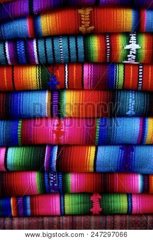 Traditional Colourful Guatemalan Blankets At The Market