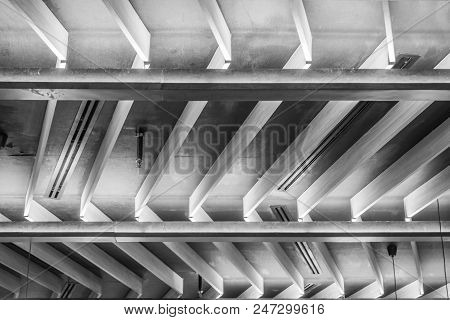 Black And White Construction Of Roof, Modern Ceiling Pattern.