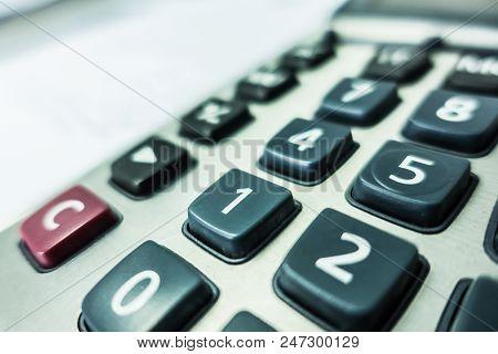 Closeup Of Button Calculator , Calculator On Table