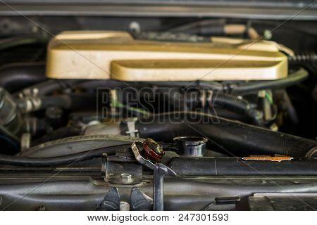 Close Up Of Car Radiator, Open Cap.