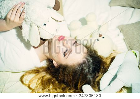 Relax Woman Relax In Bed With Soft Toys. Relax, Time To Relax.