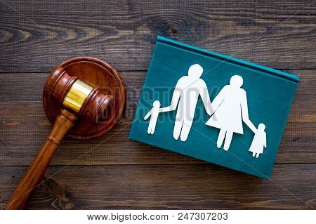 Family Law, Family Right Concept. Child-custody Concept. Family With Children Cutout Near Court Gave