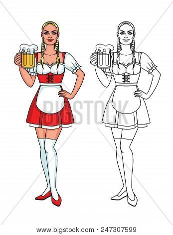 Vector Set Of Colorful And Line Illustration Of A Pretty Cute Waitress With A Mug Of Bear. Cute Char