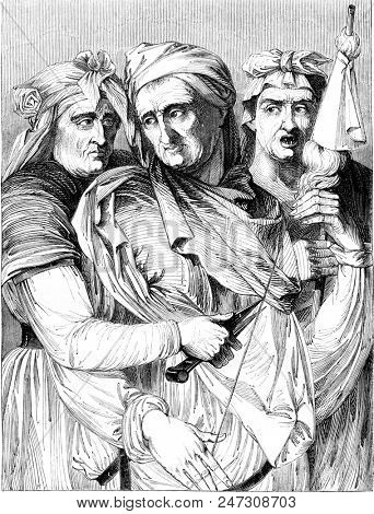 The three Fates, painting in the gallery of the Pitti Palace in Florence, vintage engraved illustration. Magasin Pittoresque 1844.