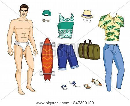 85ab723eee6 Vector Paper Doll Man With Colorful Set Of Stylish Summer Outfit With  Accessories And Shoes.