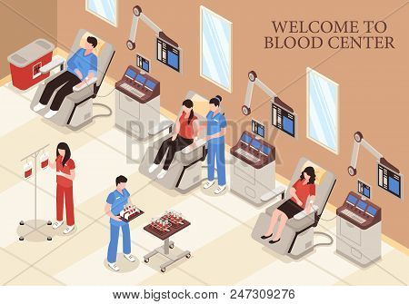 Blood Center With Donors In Chairs Modern Medical Technologies And Professional Staff Isometric Vect