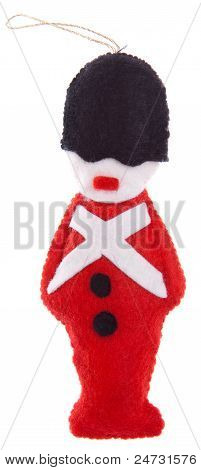 Christmas Ornament Felt Beefeater Soldier Isolated