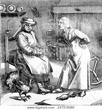 What worse than the Devil? A contentious woman, vintage engraved illustration. Magasin Pittoresque 1841.