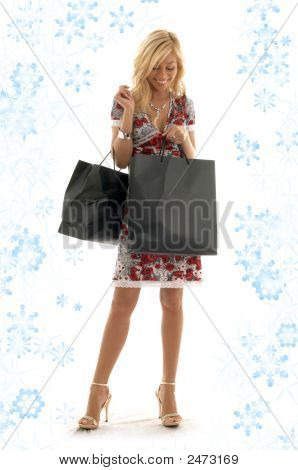 Shopping Girl With Snowflakes