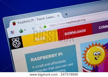 Ryazan, Russia - June 26, 2018: Homepage Of Raspberrypi Website On The Display Of Pc. Url - Raspberr