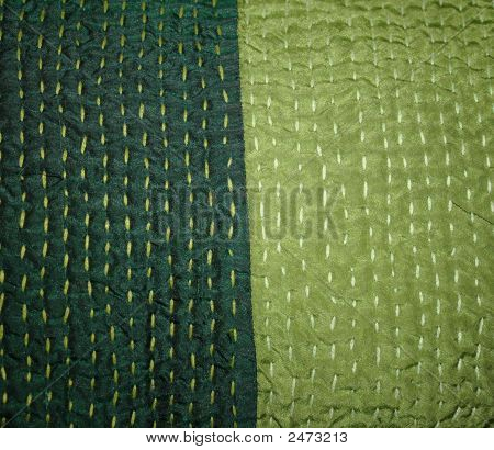 Hand Stitched Green Background