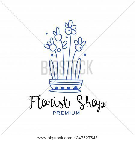 Florist Shop Premium Logo, Design Element For Floral Boutique Hand Drawn Vector Illustration In Blue
