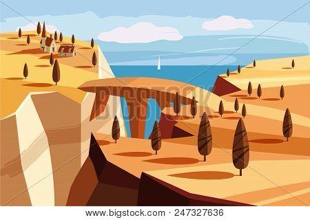 Fantastic Landscape Mountain, Gorge, Horizon, Space, Cartoon Fantasy In Game Design, Vector Illustra