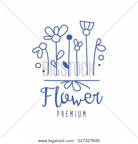 Flower Premium, Florists, Flower Shop Logo Hand Drawn Vector Illustration In Blue Color Isolated On