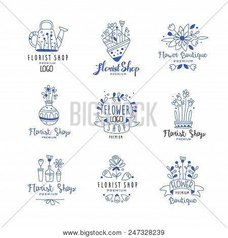Florist Shop Logo Premium Set, Flower Boutique Badges Hand Drawn Vector Illustrations In Blue Colors