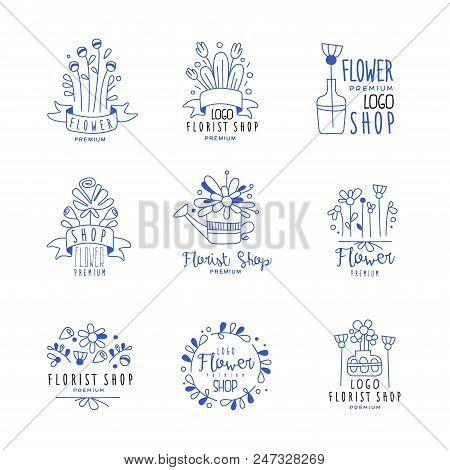 Flower Shop Logo Premium Set, Floral Boutique, Florists Badges Hand Drawn Vector Illustrations In Bl
