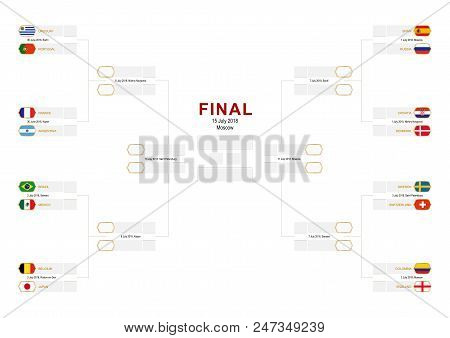 Knockout Stage Of Football Tournament, Championship Bracket With Flag Participants Of Round Of 16 On