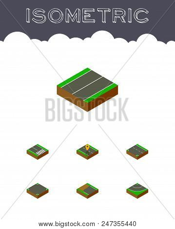 Isometric Road Set Of Footpassenger, Down, Asphalt And Other Vector Objects. Also Includes Road, Bit