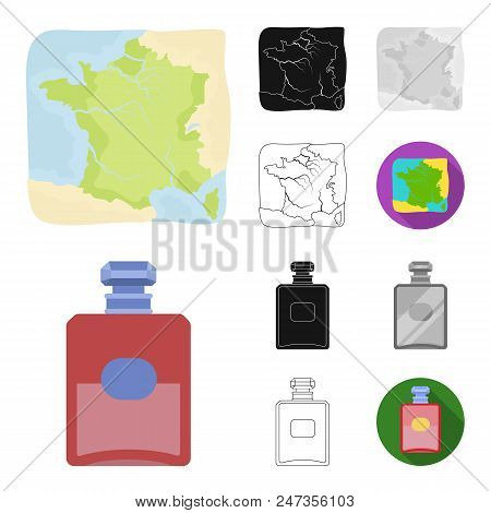 Country France Cartoon, Black, Flat, Monochrome, Outline Icons In Set Collection For Design. France
